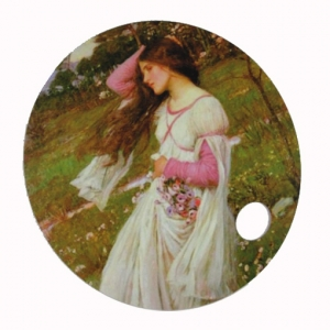 "Abanico arte John William Waterhouse ""Windflowers"""